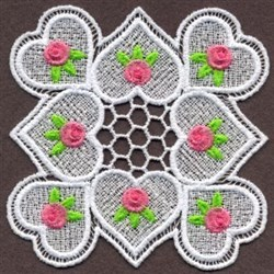 FSL Roses & Hearts Doily embroidery design