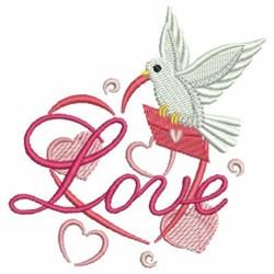 Dove & Hearts Love embroidery design