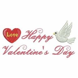 Happy Valentine Dove embroidery design