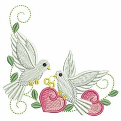 Swirly Doves & Hearts embroidery design