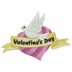 Valentine Dove & Heart embroidery design