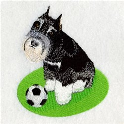 Soccer Schnauzer embroidery design