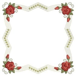 Red Roses Block embroidery design