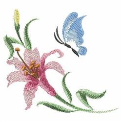 Watercolor Lily & Butterfly embroidery design