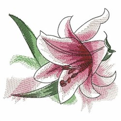 Pink Watercolor Lily embroidery design