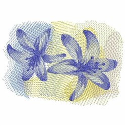 Purple Watercolor Lilies embroidery design