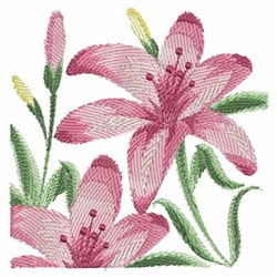 Pink Watercolor Lilies embroidery design