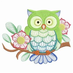 Floral Perched Owl embroidery design