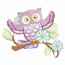 Floral Branch & Owl embroidery design