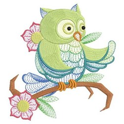 Perched Owl & Flowers embroidery design
