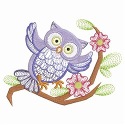 Owl & Pink Flowers embroidery design