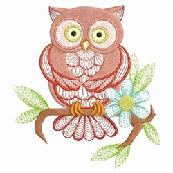 Owl & Blue Flower embroidery design
