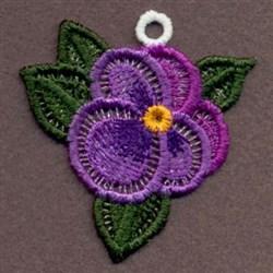 FSL Purple Pansy Ornament embroidery design