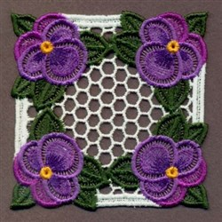 FSL Purple Pansies Square embroidery design
