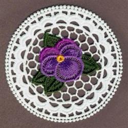 FSL Purple Pansy Circle embroidery design
