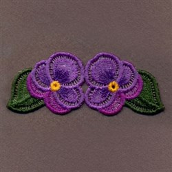 FSL Purple Pansies Border embroidery design