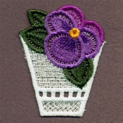 FSL Purple Pansy Pot embroidery design