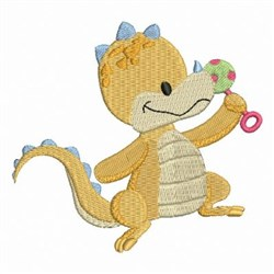 Yellow Baby Dinosaur embroidery design