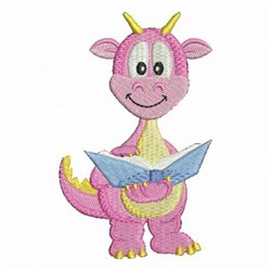 Baby Dinosaur Reading embroidery design