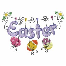 Easter Eggs Clothesline embroidery design
