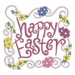 Floral Happy Easter embroidery design