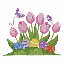 Easter Eggs & Tulips embroidery design