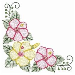 Rippled Hibiscus Corner embroidery design