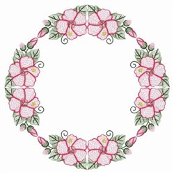 Rippled Hibiscus Wreath embroidery design