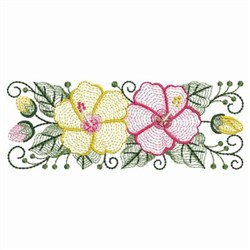 Rippled Hibiscus Rectangle embroidery design