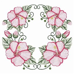 Rippled Hibiscus Circle embroidery design