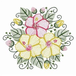 Rippled Hibiscus Hexagon embroidery design