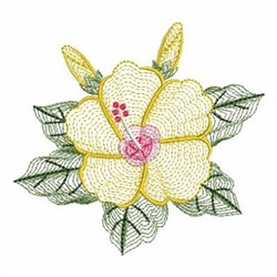 Rippled Hibiscus embroidery design
