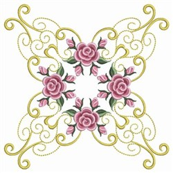 Pearl Roses Block embroidery design