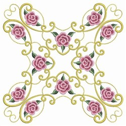 Swirly Pearl Roses embroidery design