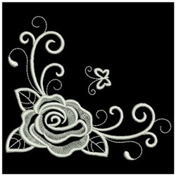 Whitework Rose & Butterfly embroidery design