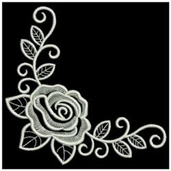 Whitework Rose Corner embroidery design