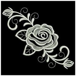 Swirly Whitework Rose embroidery design