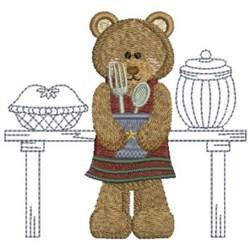 Kitchen Bear & Utensils embroidery design