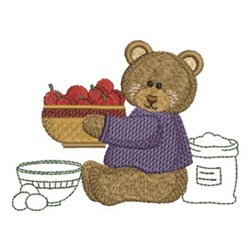 Kitchen Bear & Apples embroidery design