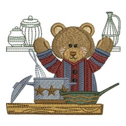 Kitchen Bear & Pans embroidery design