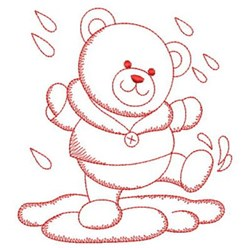 Redwork Bear & Rain embroidery design