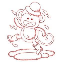 Redwork Monkey & Rain embroidery design