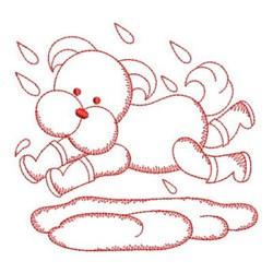 Redwork Dog & Rain embroidery design