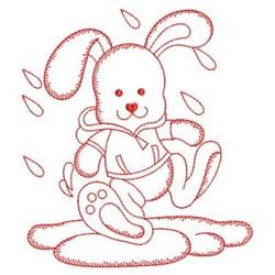 Redwork Bunny & Rain embroidery design