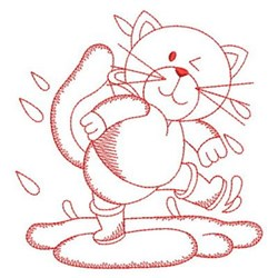 Redwork Cat & Rain embroidery design