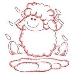 Redwork Sheep & Rain embroidery design