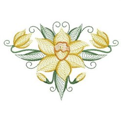 Daffodils Floral embroidery design