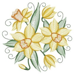 Daffodils embroidery design