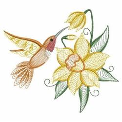 Daffodil Hummingbird embroidery design