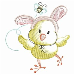 Easter Chick & Bee embroidery design